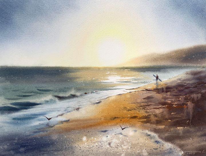 Surfer by the ocean - Eugenia Gorbacheva