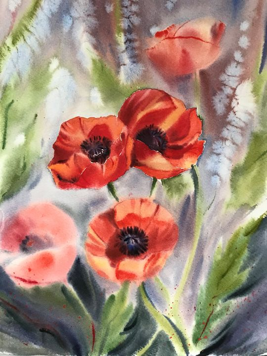 Growing Poppies - Eugenia Gorbacheva