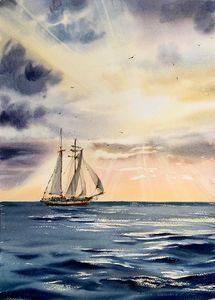 Ship and sun rays #2