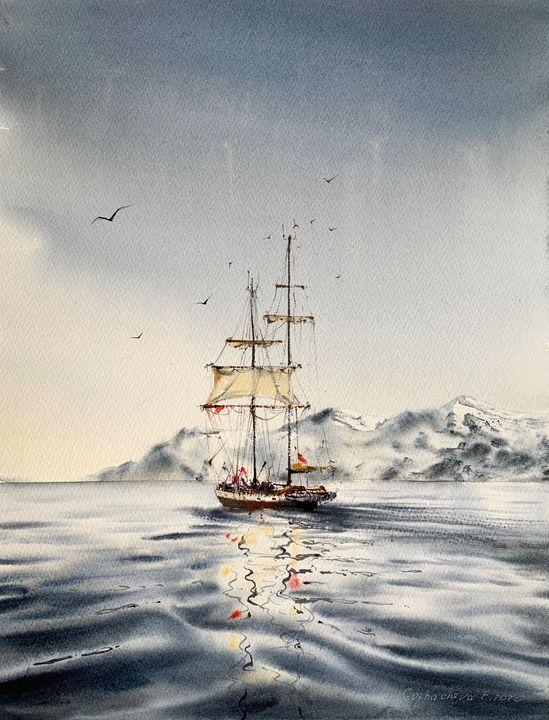 A ship off the arctic coast - Eugenia Gorbacheva