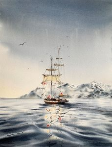 A ship off the arctic coast