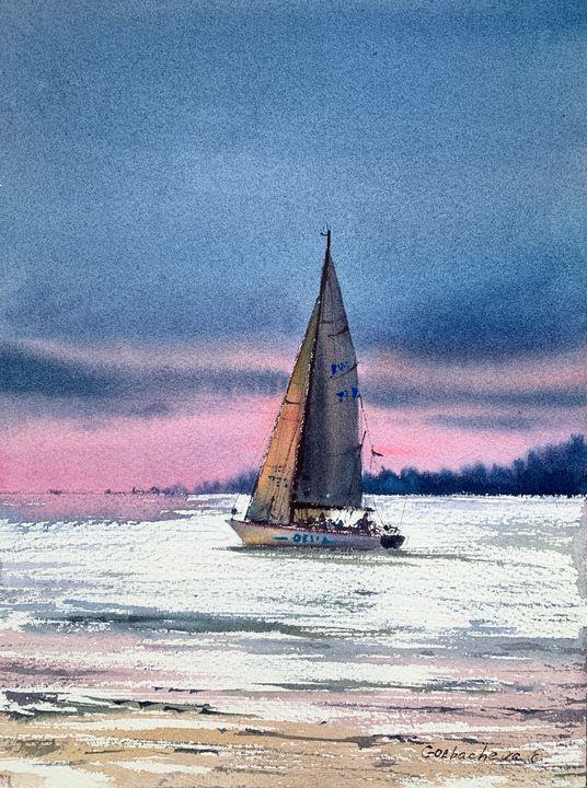 Yacht and pink sunset #2 - Eugenia Gorbacheva