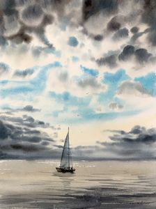 Yacht and clouds