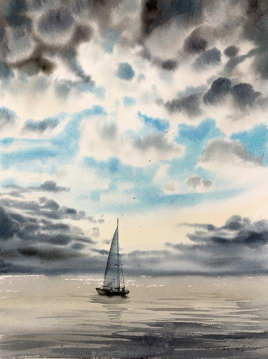 Yacht and clouds - Eugenia Gorbacheva