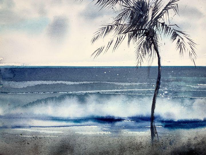 Palm tree on the beach - Eugenia Gorbacheva