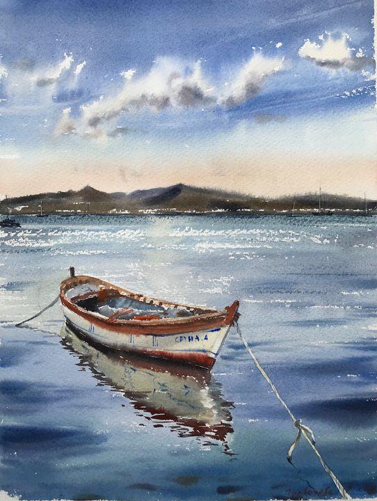 Boat at sunset - Eugenia Gorbacheva