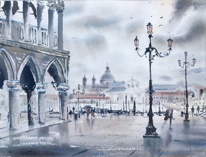 Rain in St. Mark's Square, Venice - Eugenia Gorbacheva