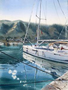 Moored yacht, Montenegro