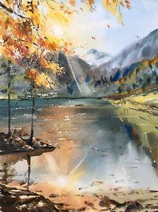 Autumn lake in the mountains