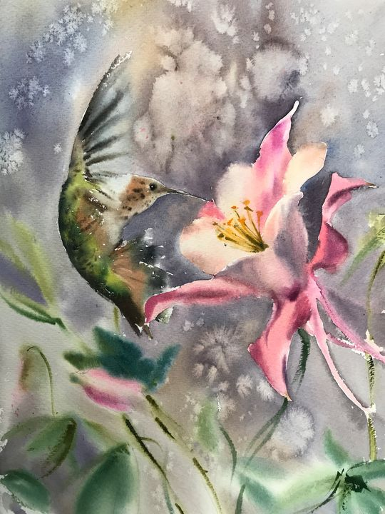Hummingbird and flower (Little bird) - Eugenia Gorbacheva