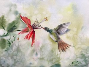Hummingbird and flower - 2