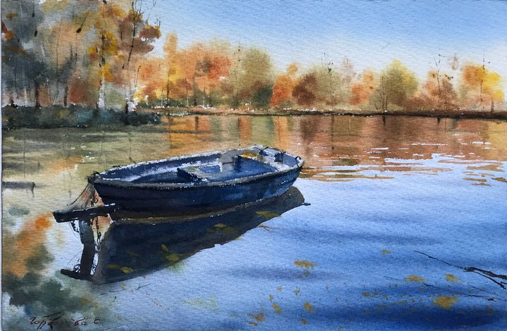 Boat on the lake - Eugenia Gorbacheva
