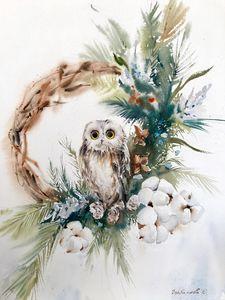 Owl and Christmas wreath