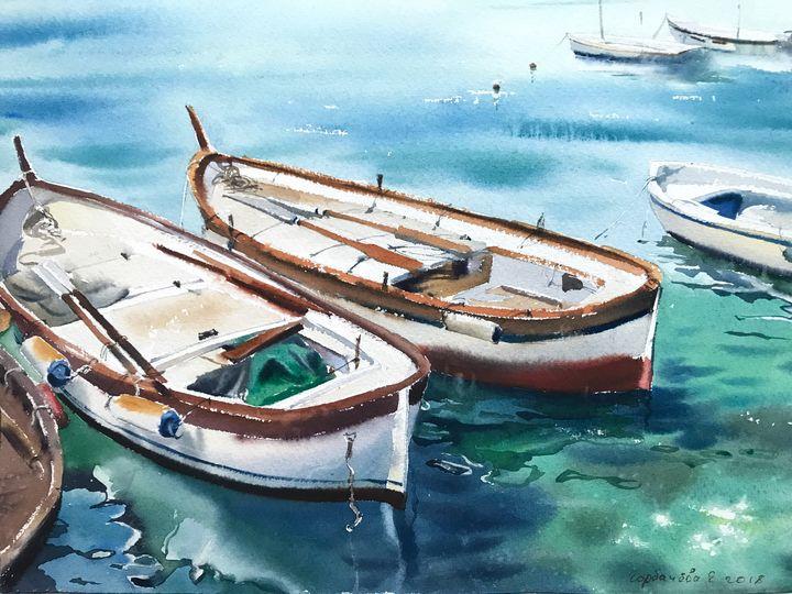 Moored boats - Eugenia Gorbacheva