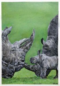 Acrylic Rhino Family
