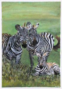 Acrylic Zebra Family