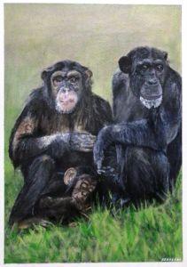 Acrylic Chimpanzee Family