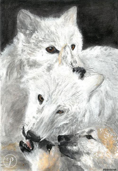 White Fox Family in Acrylic - Praveena Prabhakaran