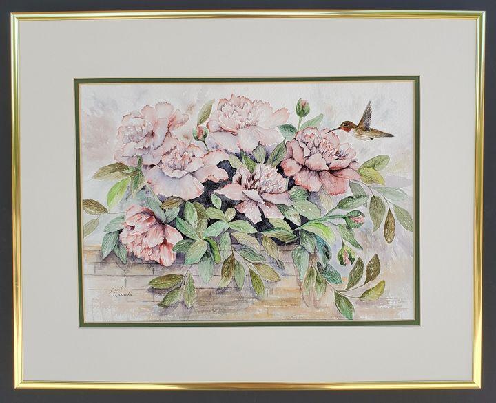 Hummingbird Meets Peony Bush - Pauline Raedeke