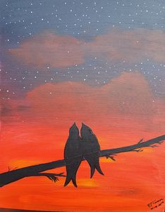 Love birds in the sunset