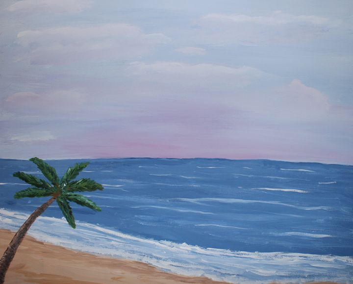 Palm Tree on Beach - Painting Gallery