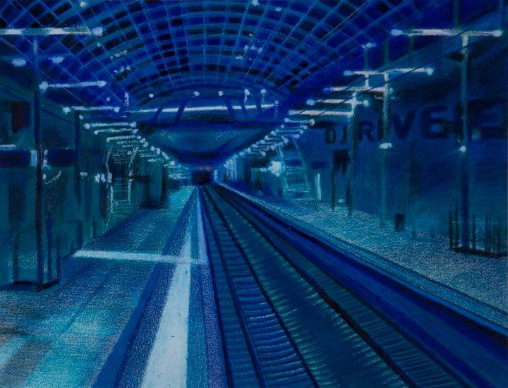THE UNDERGROUND BLUE SYFY SUBWAY - LenArt