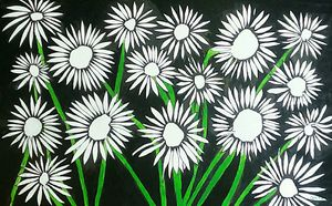 Big daisys acrylic painting