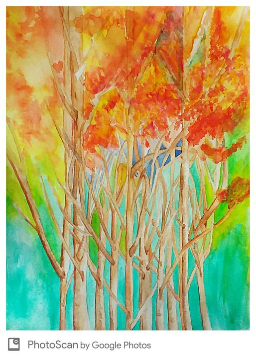 Abstract trees watercolor - Ccrider art
