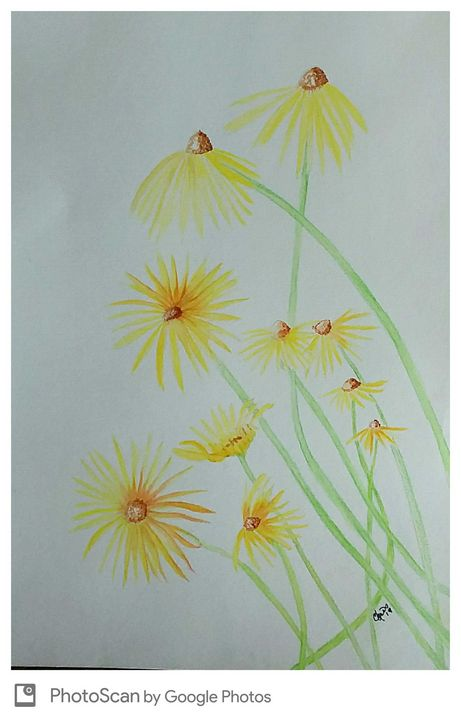 Yellow daisy watercolor - Ccrider art