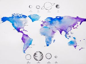 Watercolor World Map & Planets
