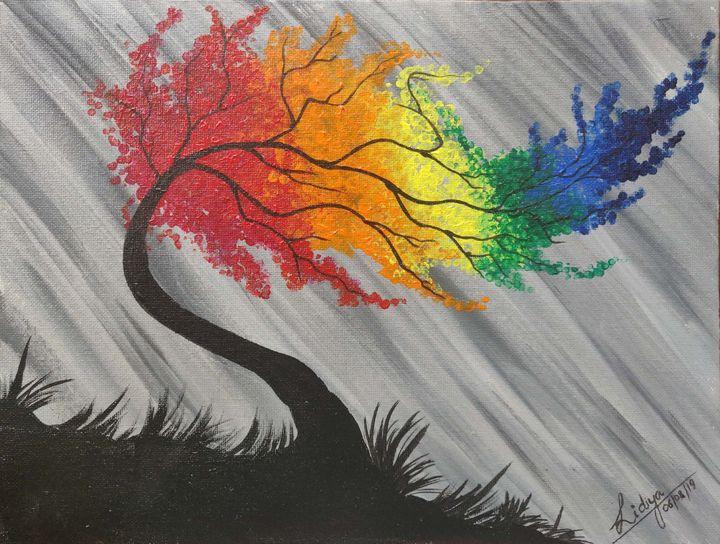 Windy rainbow tree - Lidsart