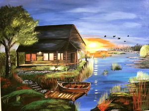 Sunset at the Lake House
