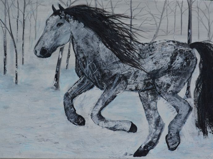 horse in snow - Amy OReilly