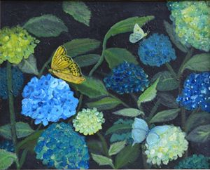 butterflies on hydrangeas