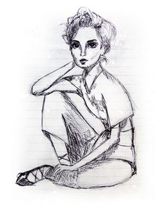 Illustration of a woman sitting