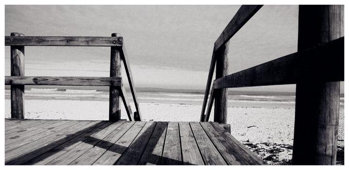 Wooden Deck on the Beach - Omni Photo Art