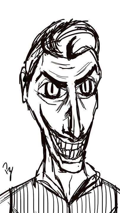 Joker Tim Burton Sketch B&N - Puzius Artwork