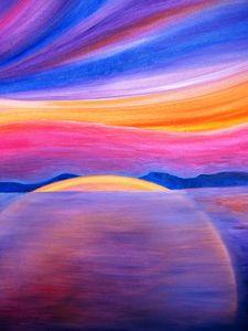 The Lake at Sunset by Alberto Dona