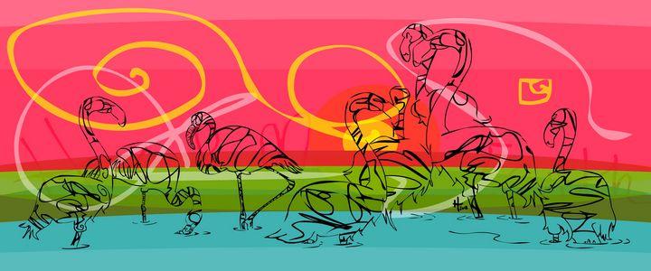 Fisher Island Flamingos - Cartoonqueen