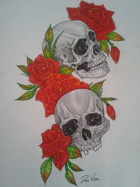 Skull and Roses Tattoo Design - Devon Willis Tattoo Designs