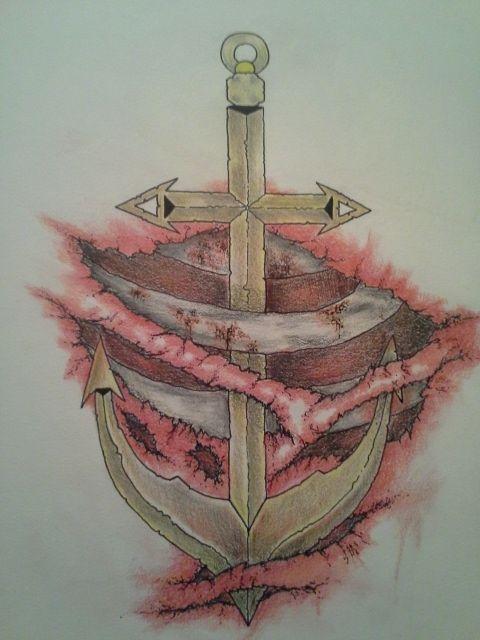 Anchor Flesh Wound Tattoo Design - Devon Willis Tattoo Designs