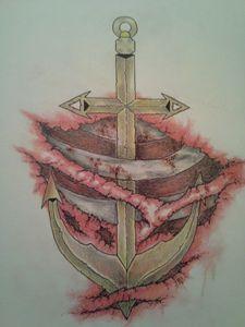 Anchor Flesh Wound Tattoo Design
