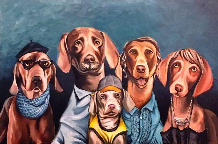 Charles Weimaraner and Family - S Evans Art