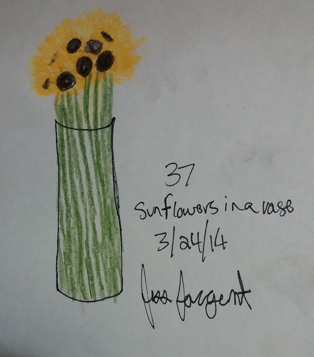 Sunflowers In A Vase 2 Jess Sargents Artwork Drawings