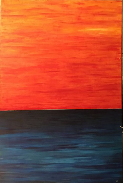 Ocean sunset - acrylic_art_by_ray_perez