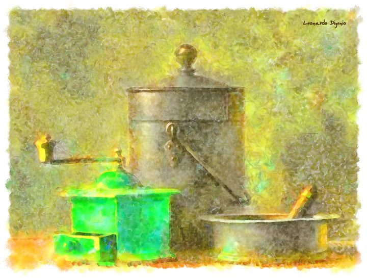 Coffee Mill Watercolor - Leonardo Digenio