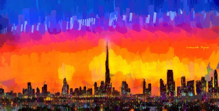 Dubai Skyline Sunset - Leonardo Digenio