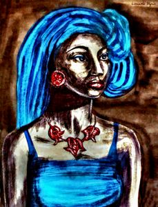 African Girl With Blue Hair Portrait