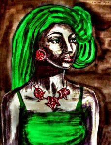 African Girl With Green Hair Portrai