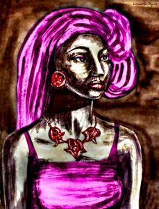 African Girl With Pink Hair Portrait
